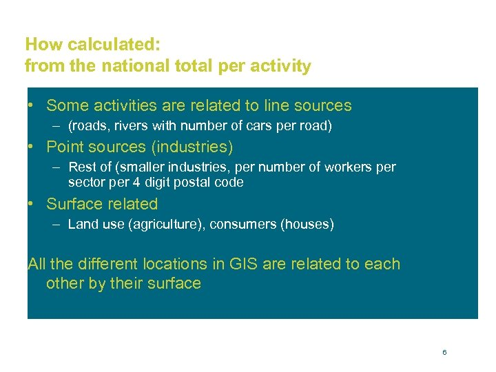 How calculated: from the national total per activity • Some activities are related to