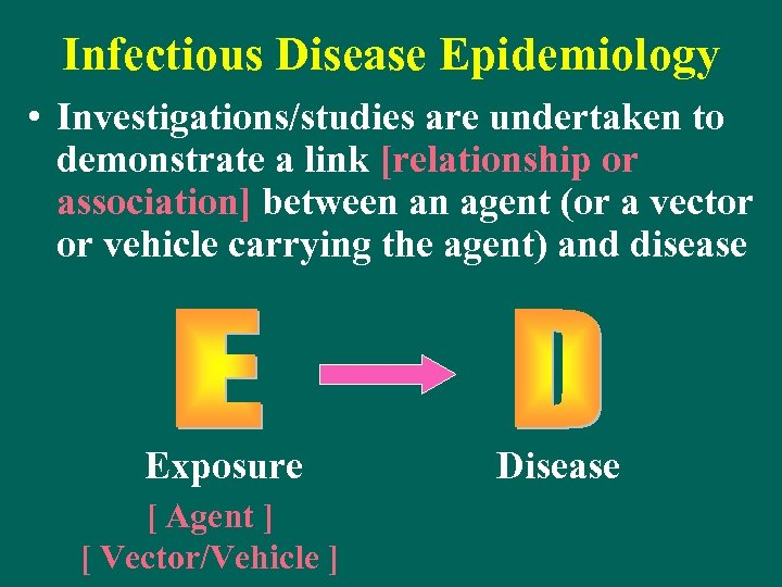Infectious Disease Epidemiology • Investigations/studies are undertaken to demonstrate a link [relationship or association]