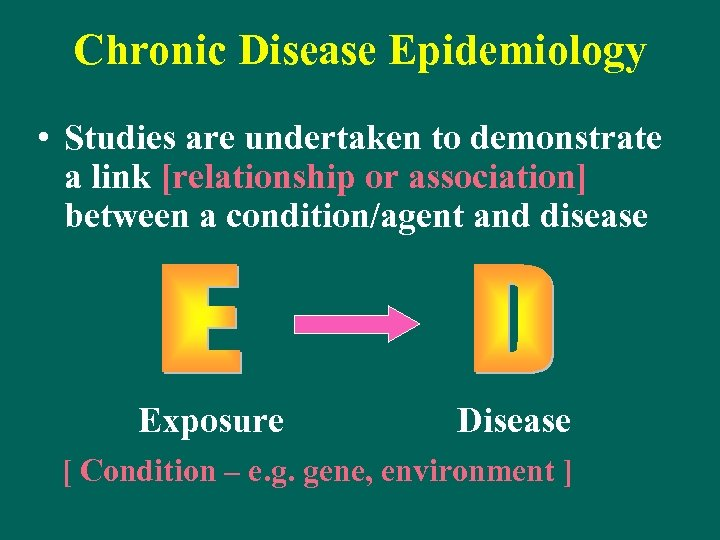 Chronic Disease Epidemiology • Studies are undertaken to demonstrate a link [relationship or association]