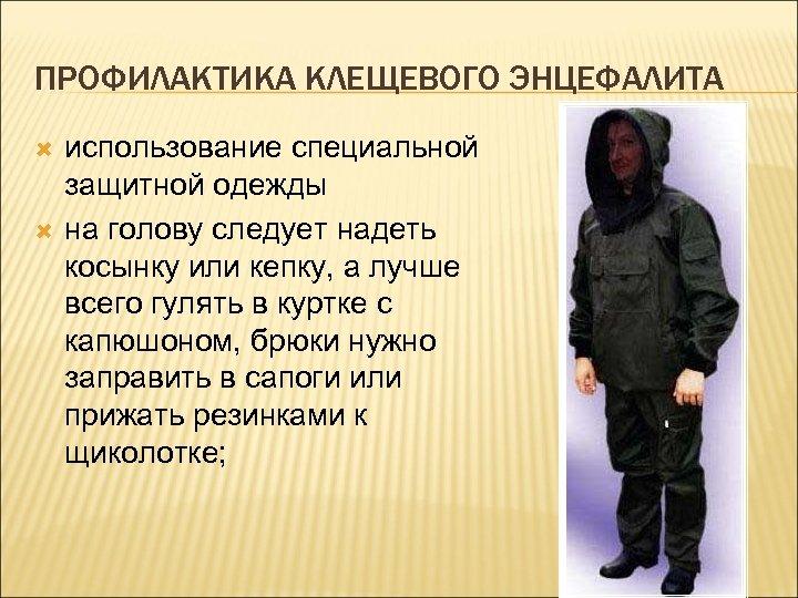 ПРОФИЛАКТИКА КЛЕЩЕВОГО ЭНЦЕФАЛИТА использование специальной защитной одежды на голову следует надеть косынку или кепку,