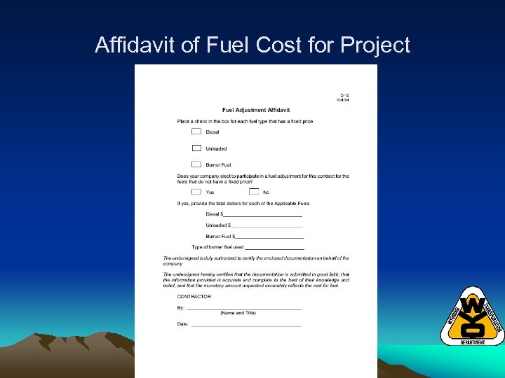 Affidavit of Fuel Cost for Project