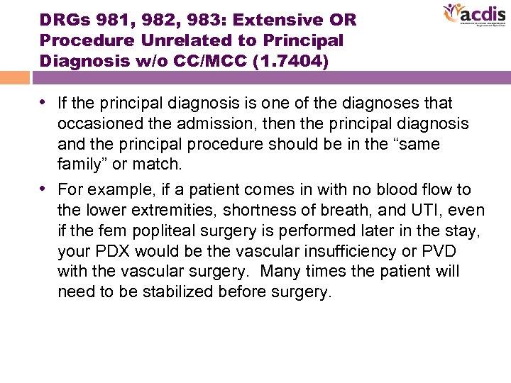 DRGs 981, 982, 983: Extensive OR Procedure Unrelated to Principal Diagnosis w/o CC/MCC (1.