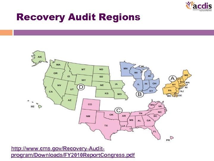 Recovery Audit Regions http: //www. cms. gov/Recovery-Auditprogram/Downloads/FY 2010 Report. Congress. pdf