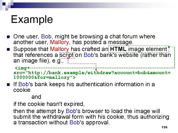 Example One user, Bob, might be browsing a chat forum where another user, Mallory,