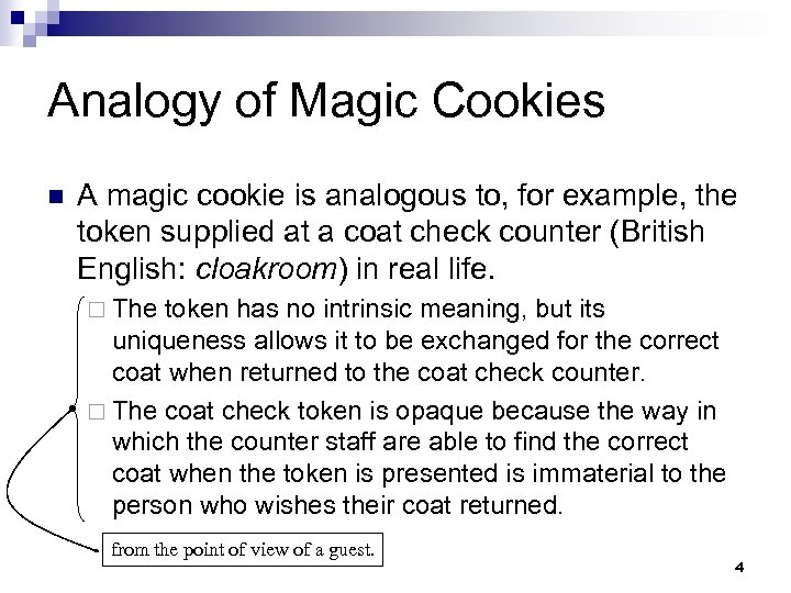 Analogy of Magic Cookies n A magic cookie is analogous to, for example, the