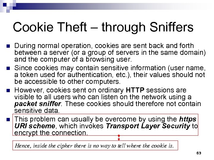 Cookie Theft – through Sniffers n n During normal operation, cookies are sent back