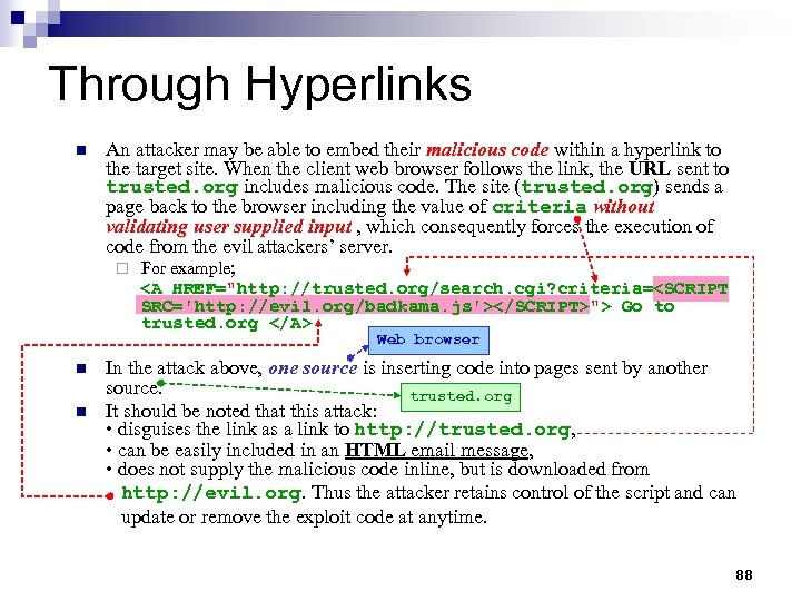 Through Hyperlinks n An attacker may be able to embed their malicious code within