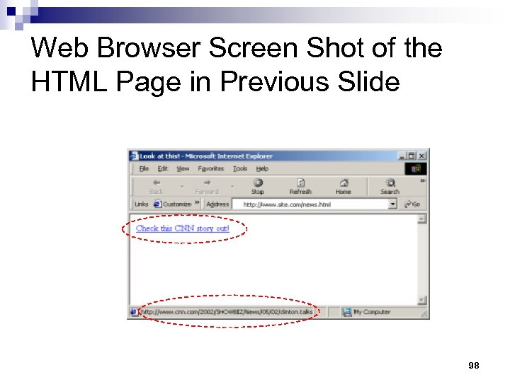 Web Browser Screen Shot of the HTML Page in Previous Slide 98