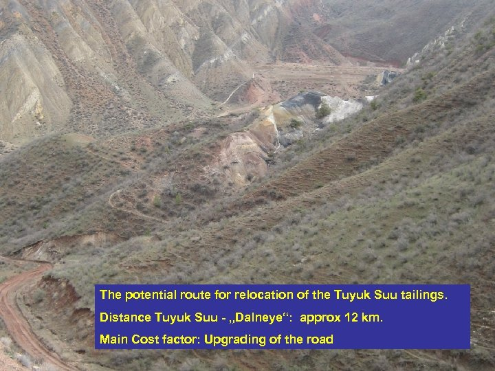 The potential route for relocation of the Tuyuk Suu tailings. Distance Tuyuk Suu -