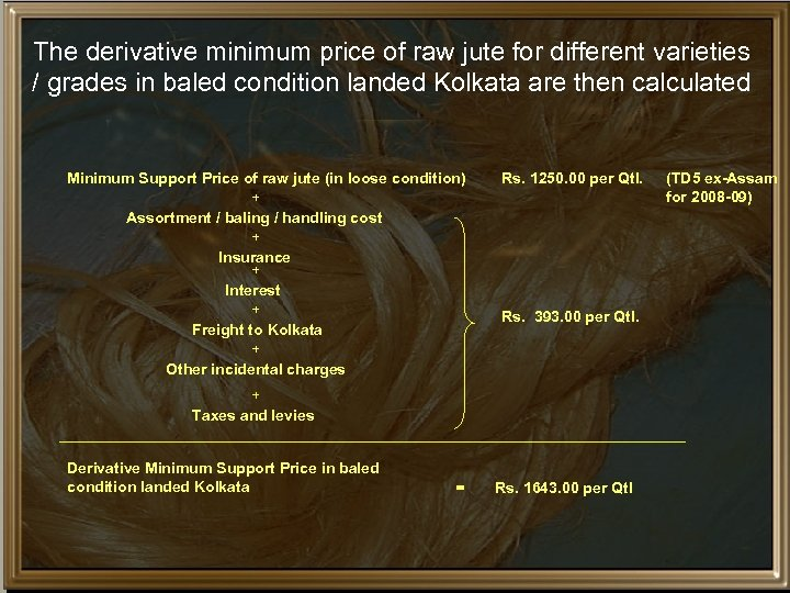 The derivative minimum price of raw jute for different varieties / grades in baled