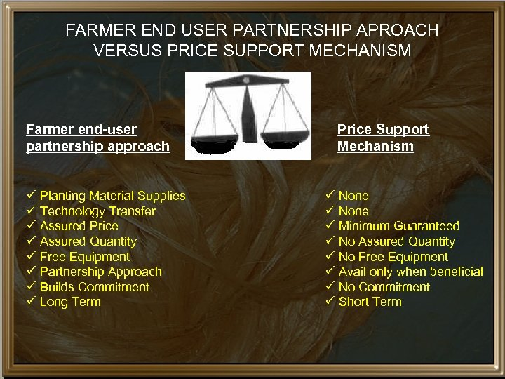 FARMER END USER PARTNERSHIP APROACH VERSUS PRICE SUPPORT MECHANISM Farmer end-user partnership approach ü