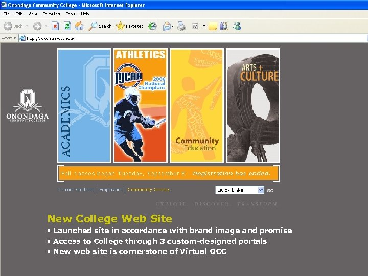 New College Web Site • Launched site in accordance with brand image and promise