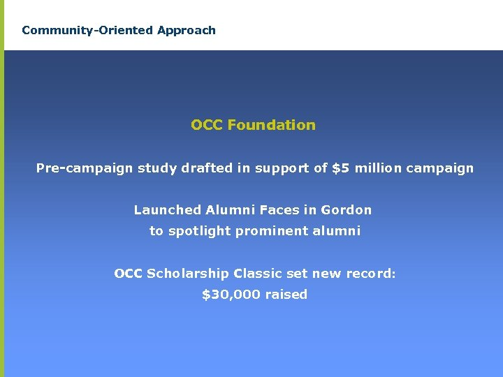 Community-Oriented Approach OCC Foundation Pre-campaign study drafted in support of $5 million campaign Launched