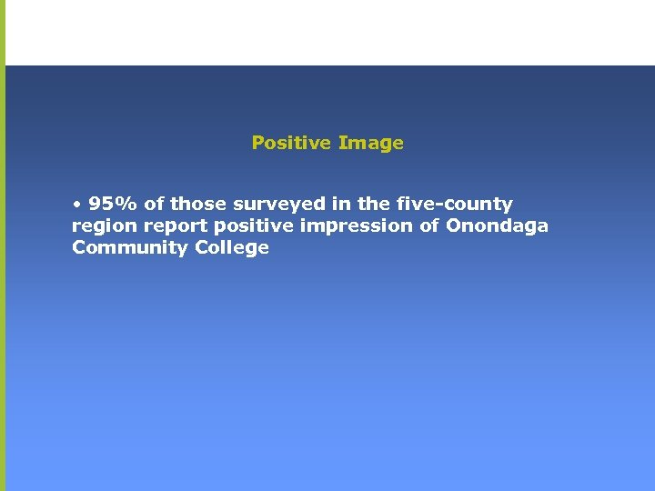 Positive Image • 95% of those surveyed in the five-county region report positive impression