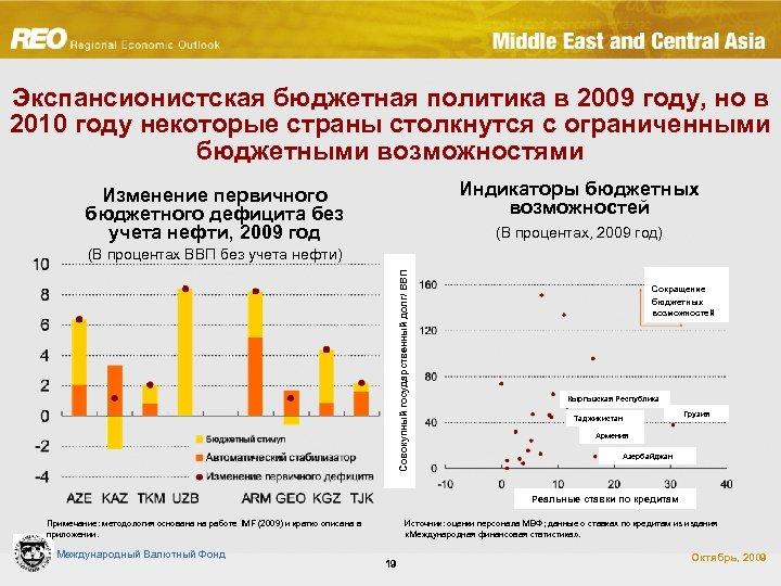 Экспансионистская бюджетная политика в 2009 году, но в 2010 году некоторые страны столкнутся с