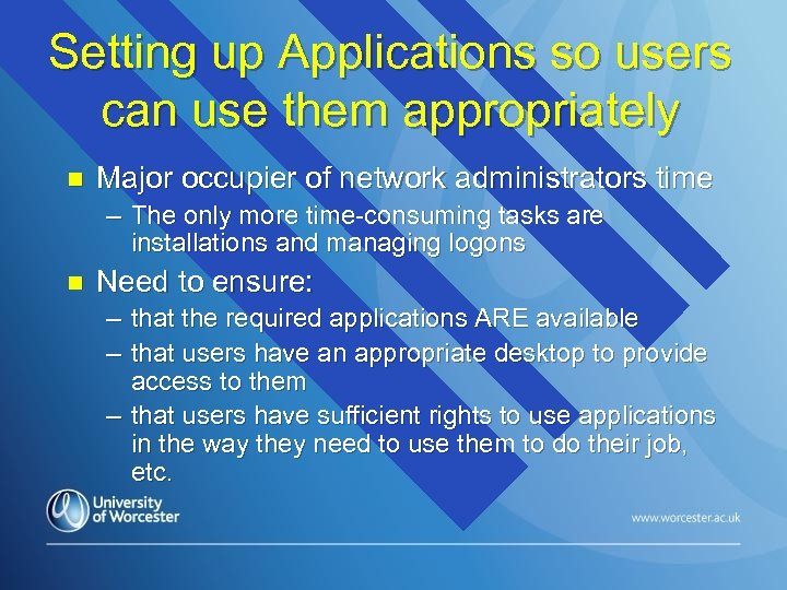 Setting up Applications so users can use them appropriately n Major occupier of network