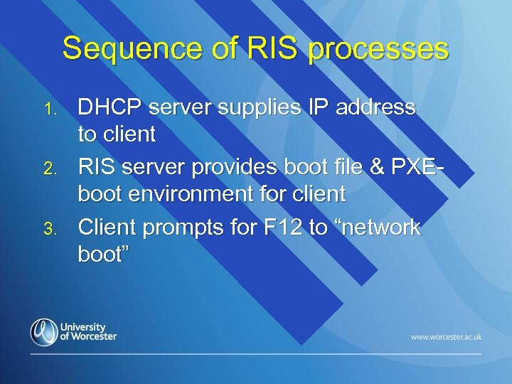 Sequence of RIS processes 1. 2. 3. DHCP server supplies IP address to client