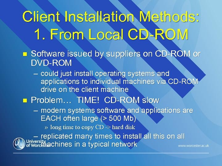 Client Installation Methods: 1. From Local CD-ROM n Software issued by suppliers on CD-ROM