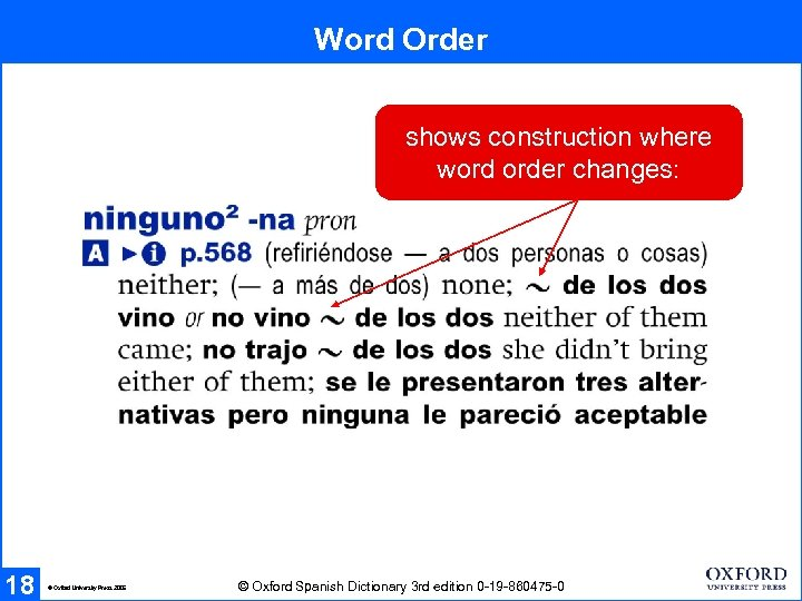 Word Order shows construction where word order changes: 18 © Oxford University Press 2005