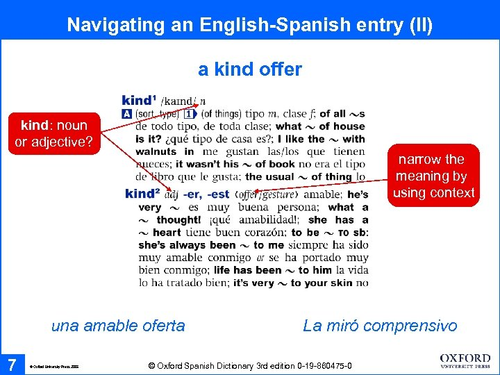 Navigating an English-Spanish entry (II) a kind offer kind: noun or adjective? narrow the
