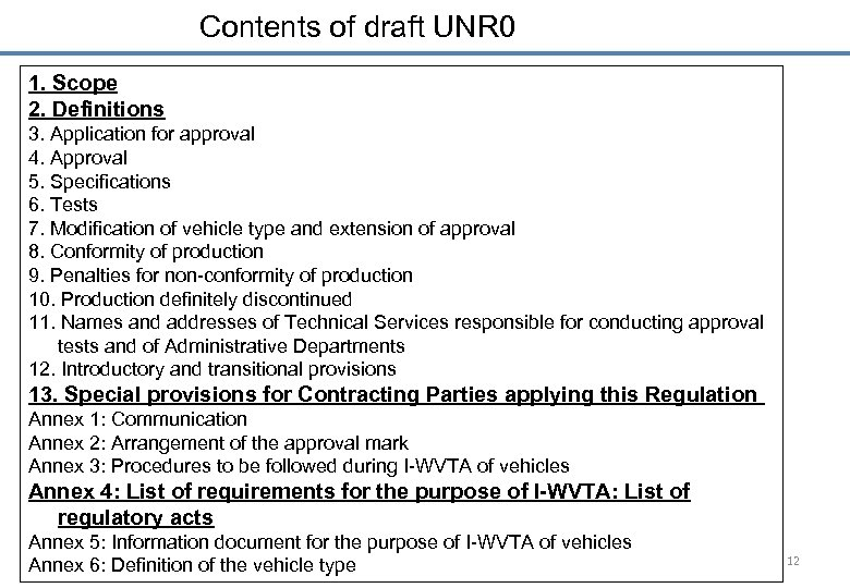 Contents of draft UNR 0 1. Scope 2. Definitions 3. Application for approval 4.