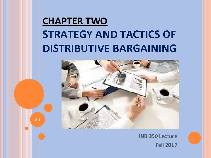 CHAPTER TWO STRATEGY AND TACTICS OF DISTRIBUTIVE BARGAINING 2 -1 INB 350 Lecture Fall