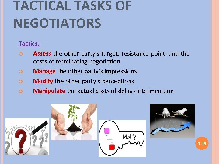TACTICAL TASKS OF NEGOTIATORS Tactics: Assess the other party's target, resistance point, and the