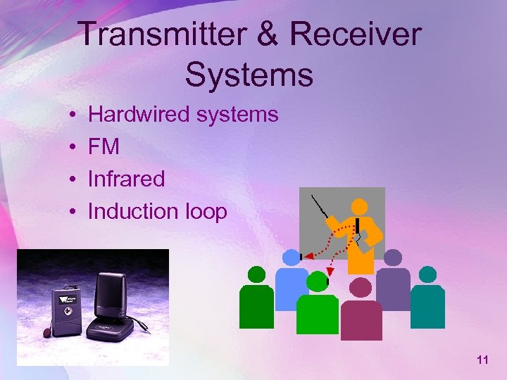 Transmitter & Receiver Systems • • Hardwired systems FM Infrared Induction loop 11