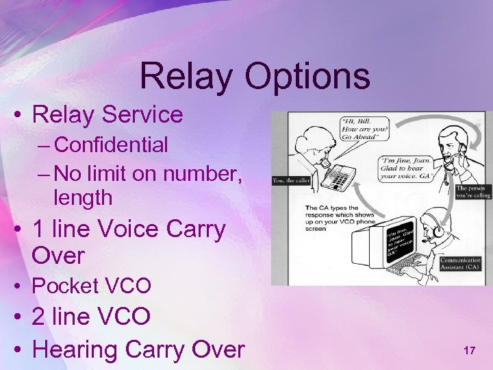 Relay Options • Relay Service – Confidential – No limit on number, length •