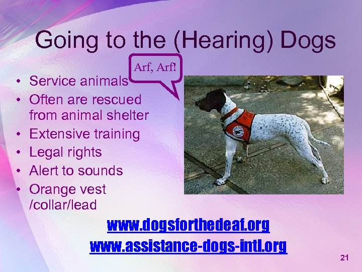 Going to the (Hearing) Dogs Arf, Arf! • Service animals • Often are rescued
