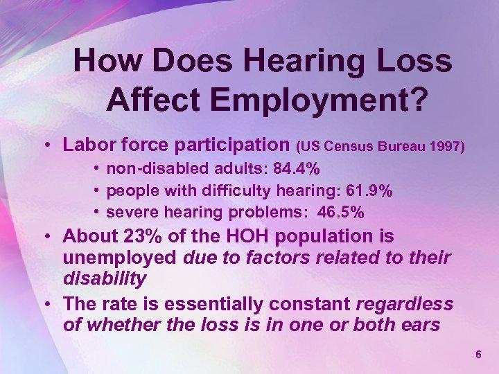 How Does Hearing Loss Affect Employment? • Labor force participation (US Census Bureau 1997)