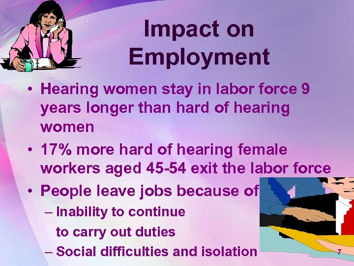 Impact on Employment • Hearing women stay in labor force 9 years longer than