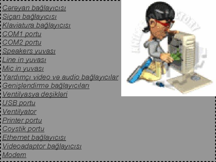 Cərəyan bağlayıcısı Siçan bağlayıcısı Klaviatura bağlayıcısı COM 1 portu COM 2 portu Speakers yuvası