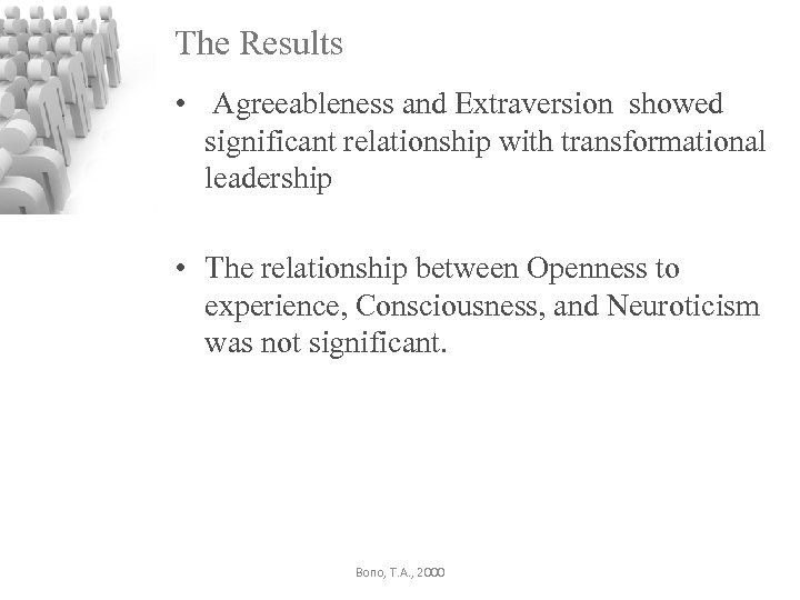 The Results • Agreeableness and Extraversion showed significant relationship with transformational leadership • The