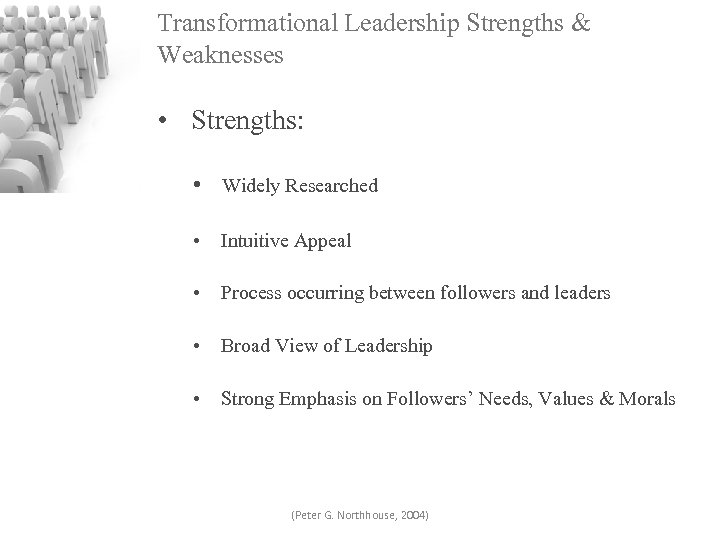 Transformational Leadership Strengths & Weaknesses • Strengths: • Widely Researched • Intuitive Appeal •