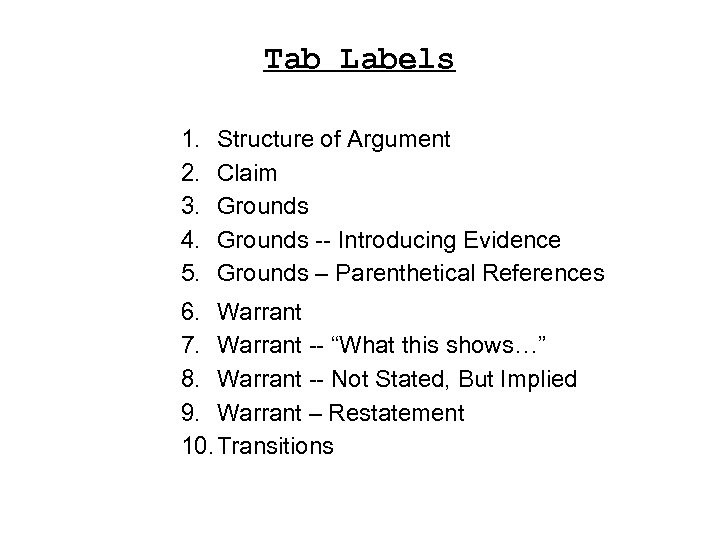Tab Labels 1. 2. 3. 4. 5. Structure of Argument Claim Grounds -- Introducing