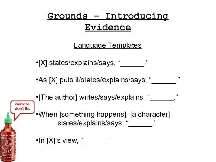 "Grounds – Introducing Evidence Language Templates • [X] states/explains/says, ""______. "" • As [X]"