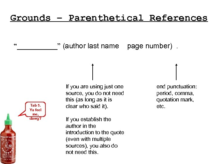 """Grounds – Parenthetical References """"_____"""" (author last name Tab 5. Ya feel me, dawg?"""