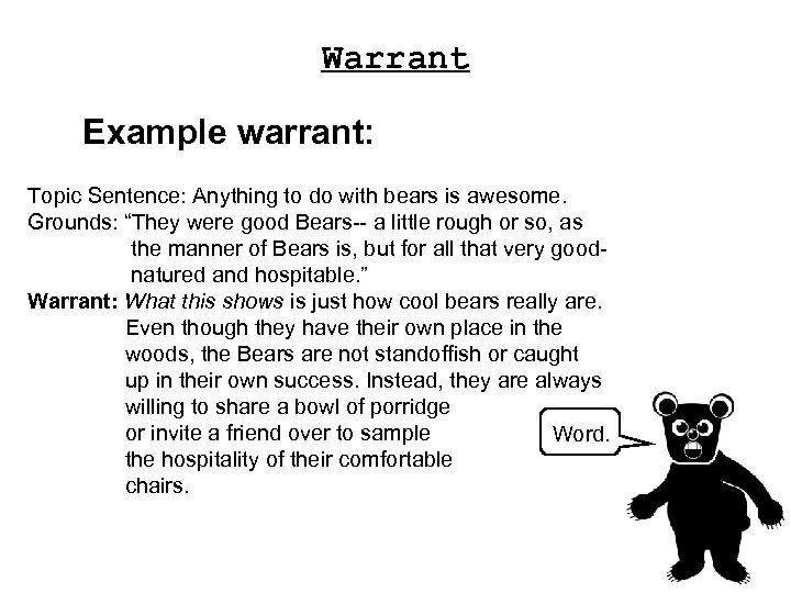 """Warrant Example warrant: Topic Sentence: Anything to do with bears is awesome. Grounds: """"They"""