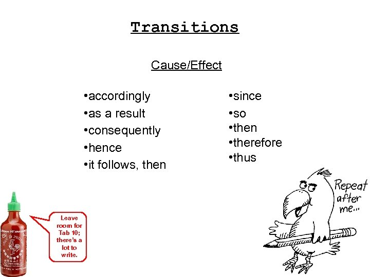 Transitions Cause/Effect • accordingly • as a result • consequently • hence • it
