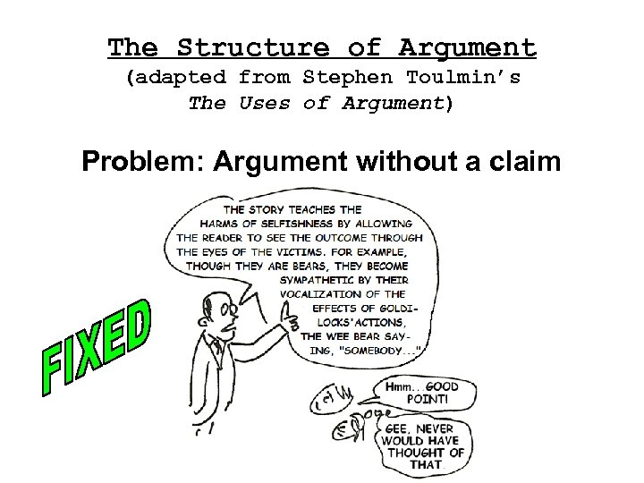The Structure of Argument (adapted from Stephen Toulmin's The Uses of Argument) Problem: Argument