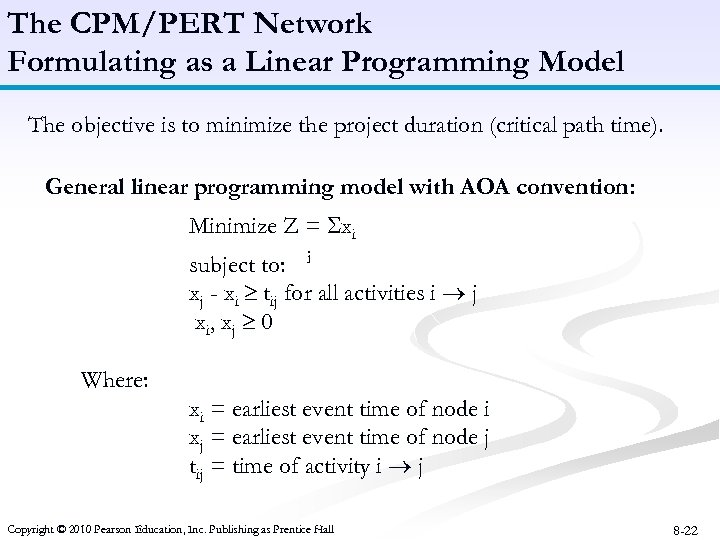 The CPM/PERT Network Formulating as a Linear Programming Model The objective is to minimize