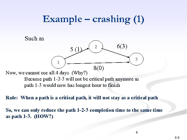 Example – crashing (1) Such as 5 (1) 1 2 6(3) 3 8(0) Now,