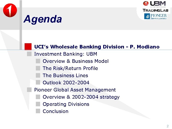 Agenda UCI's Wholesale Banking Division - P. Modiano Investment Banking: UBM Overview & Business