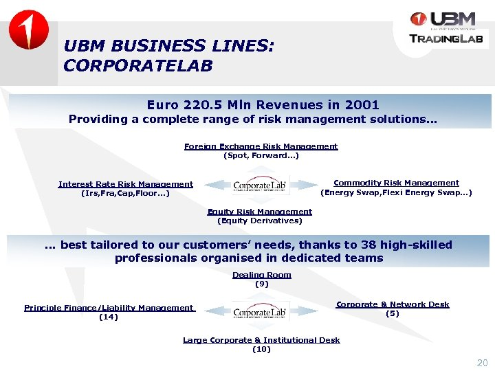 UBM BUSINESS LINES: CORPORATELAB Euro 220. 5 Mln Revenues in 2001 Providing a complete
