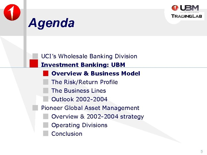 Agenda UCI's Wholesale Banking Division Investment Banking: UBM Overview & Business Model The Risk/Return