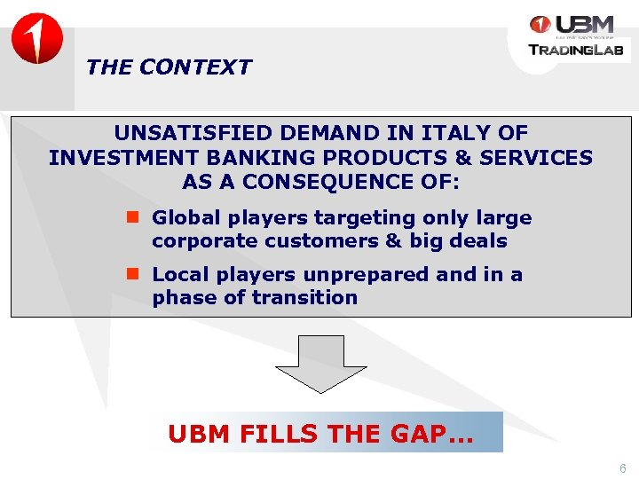 THE CONTEXT UNSATISFIED DEMAND IN ITALY OF INVESTMENT BANKING PRODUCTS & SERVICES AS A