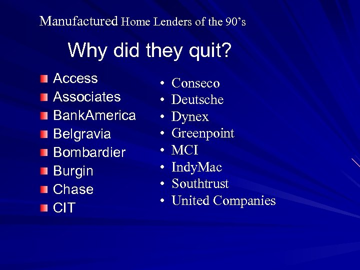 Manufactured Home Lenders of the 90's Why did they quit? Access Associates Bank. America