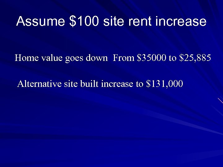 Assume $100 site rent increase Home value goes down From $35000 to $25, 885
