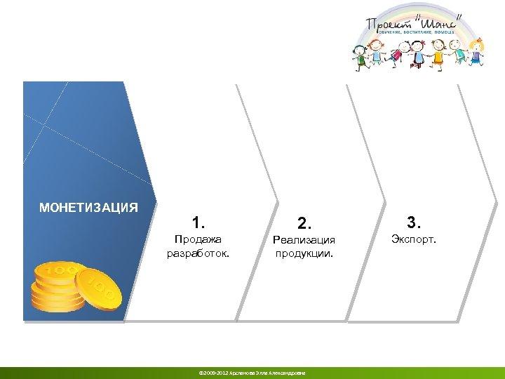 МОНЕТИЗАЦИЯ 1. 2. 3. Продажа разработок. Реализация продукции. Экспорт. © 2009 -2012 Арсланова Элла